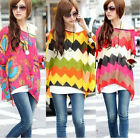 Womens Bohemian Chiffon Batwing Sleeve Loose Casual Beach T-Shirt Tops Blouse