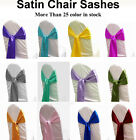 10 satin Chair Cover Sash Bow Wedding Anniversary Banquet decore free shipping