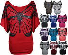 NEW WOMENS GLITTERED BUTTERFLY PRINT BATWING JERSEY TUNIC DRESS TOP SIZE 8-22