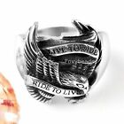 Mens 316L Stainless Steel Motor Biker Eagle Hawk Live To Ride Ring Punk Gothic