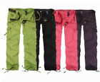 Womens Fashion Military hiking dance loose Cargo Pockets Pants Leisure Trousers