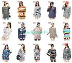 Casual Women Floral Striped Stars Long Sleeve Knitwear Sweater Blouse Loose Top