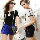 Women Chiffon Contrast Color Block Short Sleeve T-shirt Blouse Top White Black