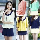 Women's Chiffon Half Lantern Sleeves Contrast Peter Pan Collar Loose Blouse Top