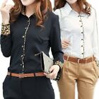 Women Office Lady Career Leopard Patchwork Long Sleeve Button Up Blouse Shirt