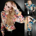 Chic Women Chiffon Printed Floral Flower Long Sleeve Shoulder Pads Shirt Blouse