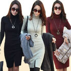 New Lady High Collar Turtleneck Long Sleeve Bodycon Slim Bottoming Party Dress