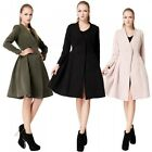 Autumn Winter Women V Neck Long Sleeve Trench Coat Overcoat Outerwear Tunic Top