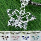 5X Rhinestone Silver Plated Butterfly Charm Beads Large Big Hole Fit Jewelry DIY