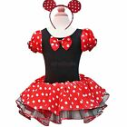 Girls Kids Xmas Minnie Mouse Party Costume Ballet Dance Dress Tutu Skirt + Ears