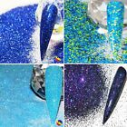 BLUE NAIL ART GLITTER IRIDESCENT HOLOGRAPHIC CHUNKY FINE MIXES DISCS STARS