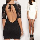 Sexy Club Party Women Lace Overlay Open Back Backless Mini Bodycon Sheath Dress