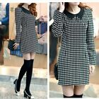 Women Autumn Houndstooth Plaid Long Sleeve Straight Shift Dress Black & White