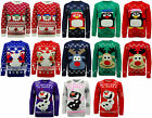 Boys Girls Xmas Christmas Knitted Jumper Sweater - Flashing LED Lights