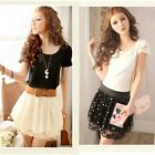 Summer Women Chiffon Lace Polka Dot Pleated Layered Elastic Waist Mini Skirt