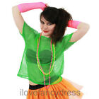GREEN 80S MESH TOP NEON FISHNET T-SHIRT FANCY DRESS COSTUME PUNK ROCK ROCKER