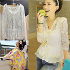 Women Sexy Fashion Semi Sheer Embroidery Hollow Lace Crochet T-Shirt Tops Blouse