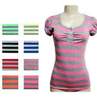 8-Pack: Ladies' Short-Sleeved Round Neck Striped T-Shirts with Buttons