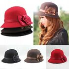 Fashion Women Winter Flower Rose Design Bowler Derby Cloche Bucket Hat Headwear