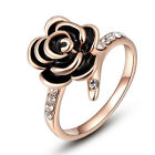 New Rose Gold Flower Ring with Cubic Zirconia Band Jewellery 0090-92