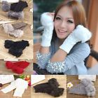 Winter Women Warm Knitted Knit Fingerless Acrylic Faux Fur Long Gloves Mitten