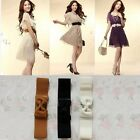 Elegant Women's Girls' Bowknot Bow Wide Elastic Stretch Waist Belt Waistband
