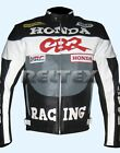 HRC FIREBLADE CBR Racing Grey Biker Motorcycle Cowhide Leather Jacket ANY SIZE