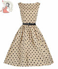 Lindy Bop 50's Audrey Vintage Polka Dot Dress Mocha
