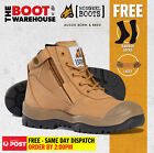 Mongrel 461050 Work Boots. Steel Toe Safety. Wheat, Zip-Sider, Scuff Cap,  NEW!