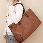 VINTAGE NEW LADIES WOMEN FASHION PU LEATHER DESIGNER BLACK TOTE SHOPPERS HANDBAG