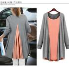 HOT Fashion long Sleeve knit cotton false 2 tops shirt dress 2 colors plus size