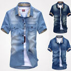 POP faddish Men's Jeans Casual Slim Fit Stylish Wash-Vintage Denim Shirts