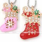 1x Gold Plated Crystal Christmas Xmas Shoes Charm Pendant Fit Necklace DIY Gift