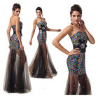 Masquerade Sexy Sequins LACE Long Cocktail Party Evening Prom Homecoming Dresses