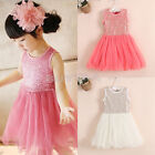Hot Selling Kids Baby Party Princess Skirt Girls Solid Lace Floral TUTU Dress