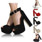 Kyпить WOMENS ANKLE STRAP LADIES PLATFORM CHUNKY HIGH HEEL SANDALS SHOES SIZE 3-8 на еВаy.соm