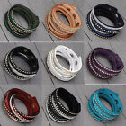 Punk Bracelet Suede Leather Metal Stud Rivets Crystal Rhinestone Streamline Wrap