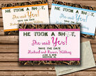 HE TOOK A SHOT SAVE THE DATE - WEDDING SAVE THE DATES - CAMOUFLAGE HUNTER