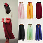 NEW Women Double Layer Chiffon Pleated Retro Long Maxi Dress Elastic Waist Skirt