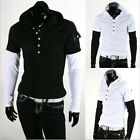 FM Sexy Men's Stylish Short-Sleeved Hoodie Pullover Cotton Casual T Shirts USJJL