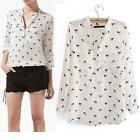 Lady Charm Cool Chic Dog Printed Chiffon Shirt Collarless Tops Blouses UKLO
