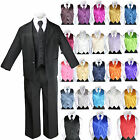 Baby Boys Formal Party Black 7-pc Suits Sets Color Vest Tie Outfits Newborn to 7