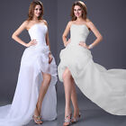 WHITE High-Low Organza Dress Bridesmaid Evening Slim Fit Ball Gowns Formal Dress