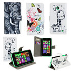 Giraffe Elephant Leather Wallet Card Stand Case Cover For Nokia Lumia 630 635
