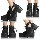 NEW WOMENS LADIES CUT OUT ANKLE BLOCK MID HEEL BOOT GOLD BUCKLES SHOES SIZE 3-8