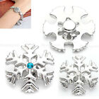 1pc Snowflake Rhinesotne Gems Alloy Snap Button Charms For Bracelet DIY