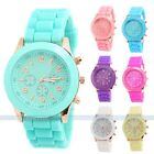 GENEVA Silicone Rubber Stainless Steel Quartz Analog Sports Women Wrist Watch