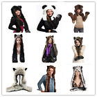 3 in 1 Multifuctional Faux Fur Animal Hood Winter Warmer Hat with Scarfs Mitten