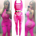 New Sexy Dress Club Wear Catsuit Hole Jumpsuit Bandage Bodycon Dress Pink 4137