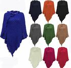NEW WOMENS LADIES KNITTED WARM PONCHO WRAP SHAWL JUMPER SWEATER